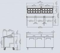 Atosa Three Door Counter Prep Fridge MSF8304