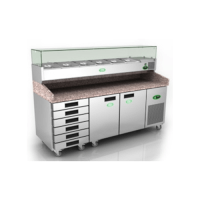 Genfrost GPZ3600DR - 2 Door + Drawers Pizza Prep Counter