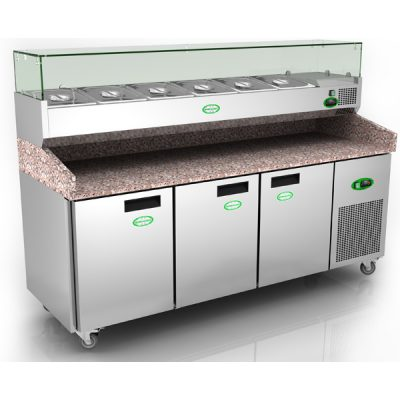 Genfrost Pizza Counter 3 Door Granite Work Top Toppings Unit EPZ 3600
