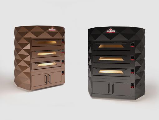 Black brown diamond triple deck pizza ovens