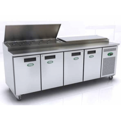 Genfrost GPR4700 4 Door Prep Counter With Raised Topping Well