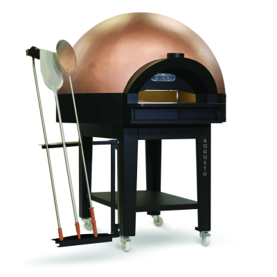 Italian bronzed dome pizza oven with pizza paddle and stand