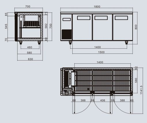 Atosa YPF9047 3 Door freezer counter