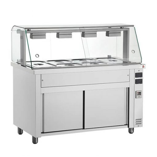 Inomak MIV714 Bain Marie With Glass Structure 4x GN11