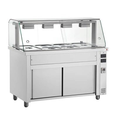 MIV711 Bain Marie With Glass Structure 3x GN1/1