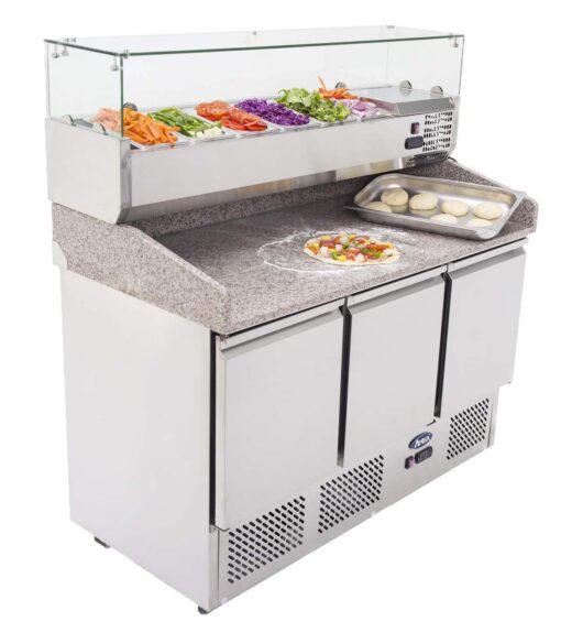 Atosa ESL3852 GR 3 door pizza counter with toppings unit