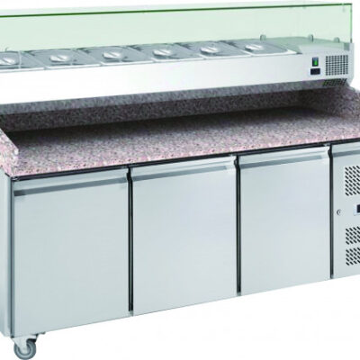 3 door Pizza counter with toppings unit
